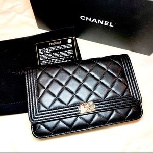 Chanel Boy Gold Hardware Long Wallet on Chain